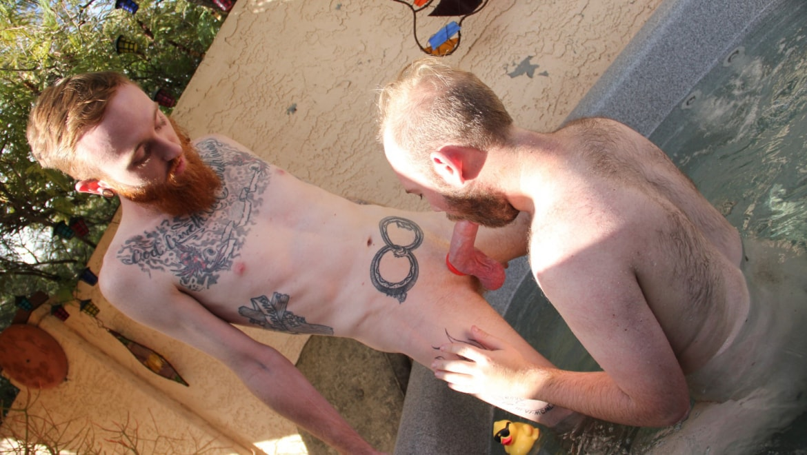 Hairy Cub Sucks Inked Ginger in a Hot Tub