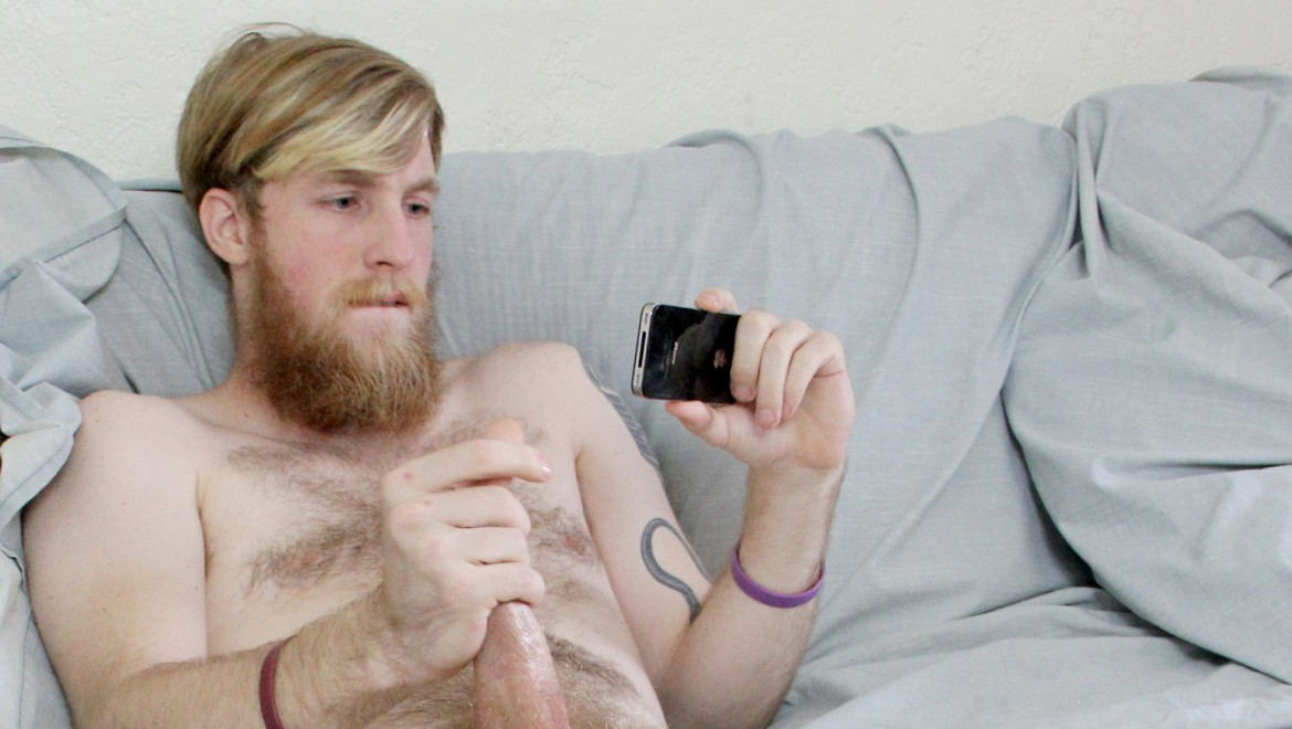 Hairy Bearded Hipster Cums in His Pubes
